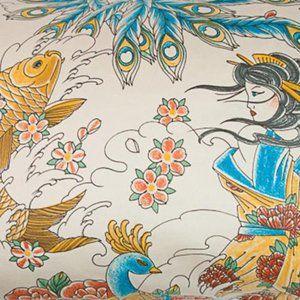 Sin in Linen Geisha Garden print tablecloth FIRM